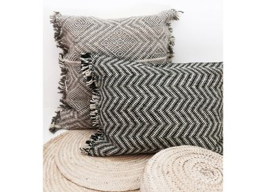 Cushions - Moroccan Kilim Wool Floor Cushion - Shadoui Black - TASHKA RUGS