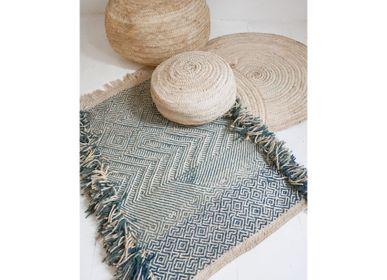Autres tapis - Tapis Marocain Kilim Petit Motif Géométrique Bleu - TASHKA RUGS