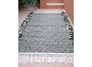 Bespoke - Moroccan Kilim Rug - Zanfi Pattern Flatweave - Black #1 - TASHKA RUGS