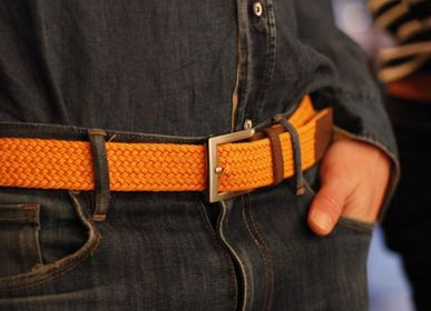 Leather goods - Orange braided belt - VERTICAL L ACCESSOIRE