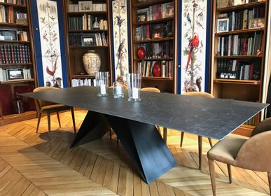Desks - Table repas Ghost pied acier patine ferronnerie  - COLOMBUS MANUFACTURE FRANCE
