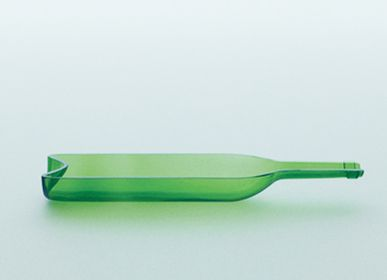 Glass - funew wine bottle half-cut L green - KIMOTO GLASS TOKYO