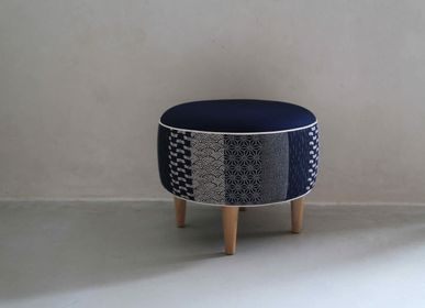 Ottomans - Pouf on feet dressed in Japanese fabrics - HL- HELOISE LEVIEUX