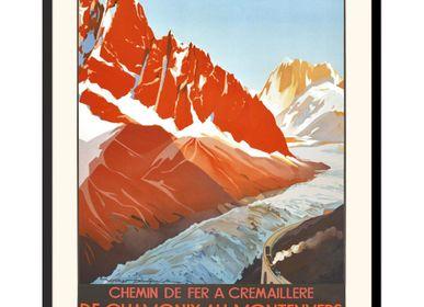 Affiches - AFFICHE DE CHAMONIX AU MONTENVERS MER DE GLACE ROGER SOUBIE EXISTE EN 2 FORMATS - BILLPOSTERS