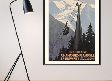 Poster - POSTER FUNICULAIRE CHAMONIX-PLANPRAZ-LE BREVENT ROGER BRODERS AVAILABLE IN 2 FORMATS - BILLPOSTERS
