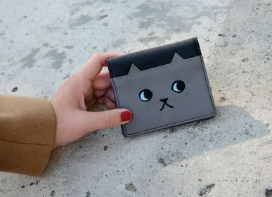 Leather goods - Leather Wallet Walking Cat Bi-color - KEORA KEORA TOKYO
