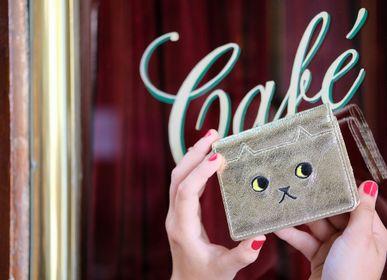 Petite maroquinerie - Portefeuille en cuir «walking cat»  Doré / Argenté - KEORA KEORA TOKYO