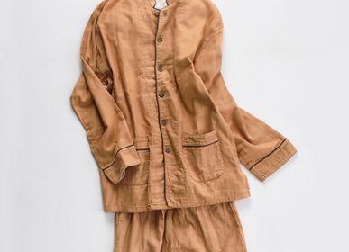 Homeweartextile - Kyo Wazarashi Mensya Pyjama en gaze teinte kaki - DAITOU SHINGU