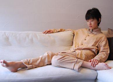 Vêtements de nuit - Kyo Wazarashi Mensya Pyjama en gaze teinte kaki - DAITOU SHINGU