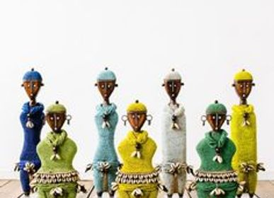 Decorative objects - Namji dolls, african dolls, ethnic decor, decorative object, wooden dolls and pearl - SUBLIME JUJU HAT