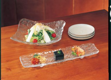 "Platter and bowls - ""SEIRO"" Japanese High-Quality Handcrafted, Bumpy Surface Glass Plate - TOYO-SASAKI GLASS"