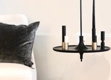 Design objects - Spinning top shelf TOUPY - black stained ashwood - black metal - MADEMOISELLE JO
