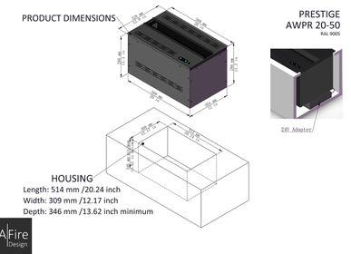 Chambres d'hotels - 50 cm Cheminée à vapeur d'eau - Insert électrique 3D PRESTIGE Cheminées AFIRE Décoration Design - AFIRE
