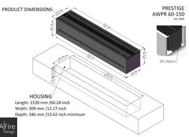 Hotel rooms - 150 cm Water Vapor Fireplace - AFIRE 3D Electric Insert PRESTIGE Design Decoration - AFIRE