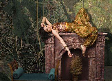 Wallpaper - Gold leaf green and gold luxury jungle wallpaper - LA MAISON MURAEM