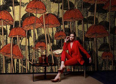 Papiers peints - Papier peint haut de gamme noir, or et rouge Mashroom  - LA MAISON MURAEM