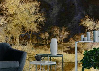 Papiers peints - Papier peint design arbres bleu et or Alchemy - LA MAISON MURAEM