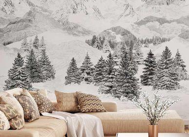 Wallpaper - Les Cimes black and white mountain wallpaper - LA MAISON MURAEM