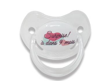 Accessoires enfants - Sucette d'annonce physiologique 0-6 mois - Surprise !!! A dans 9 mois ! - IRRÉVERSIBLE
