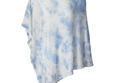 Scarves - LIGHTWEIGHT CASHMERE SQUARE PONCHO SHIBORI - MIRROR IN THE SKY