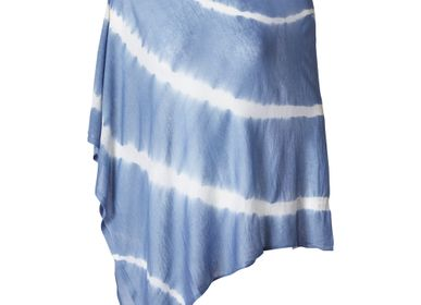 Scarves - LIGHTWEIGHT CASHMERE SQUARE PONCHO TIE DYE - MIRROR IN THE SKY