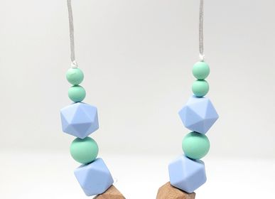 Kids accessories - Teething and Porting Necklace - Blue and Green - IRRÉVERSIBLE