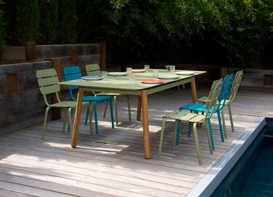 Lawn chairs - Alicante aluminium stackable chair moka / reed green / water blue - EZEIS