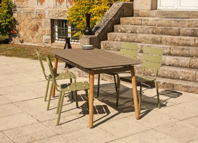 Lawn tables - Alicante Garden Table with automatic extension 6/8 people reed green / white / mocha - EZEIS