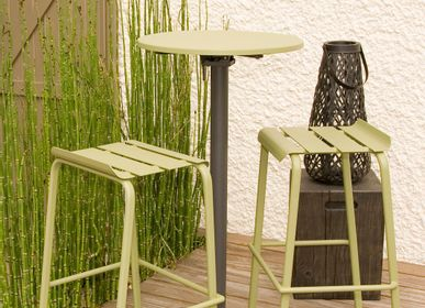 Lawn chairs - Alicante stackable bar stool Moka / reed green / water blue - EZEIS