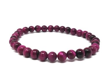 Jewelry - Natural Stone Adult Bracelet - Tiger's Eye Tinted Pink - IRRÉVERSIBLE