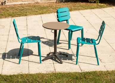 Lawn tables - Alicante round bistro table aluminium mocha or green bistro - EZEIS