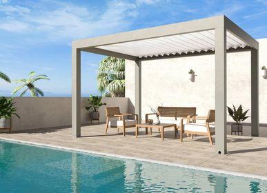 Cloisons - Tonnelle de jardin Climatix taille 3 x 3,6 m en aluminium thermolaqué de couleur gris taupe ou blanc - EZEIS