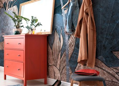 Wallpaper - Elementa Blue and Pink Coppery Foliage Wallpaper Mural - LA MAISON MURAEM