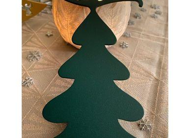 Christmas decoration - SET OF 4 PIECES FIR PATTERN _ 2 dimensions H15cm and H9cm - LP DESIGN
