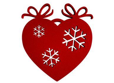 Christmas decoration - SET OF 4 PIECES MOTIF HEART FLAKES _ 2 dimensions H11cm and H7,5cm - LP DESIGN
