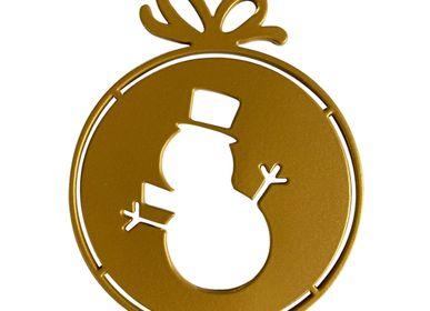 Christmas garlands and baubles - SET OF 4 PIECES MOTIF SNOWMAN BALL _ 2 dimensions H11cm and H9cm - LP DESIGN