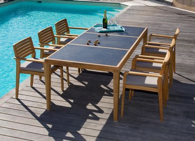 Lawn tables - Aquariva outdoor dining table in teak with compact laminate top - EZEIS