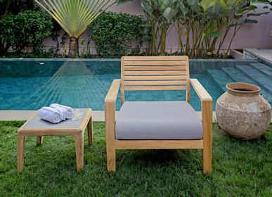 Lawn armchairs - Aquariva low seater garden armchair with cushion - EZEIS