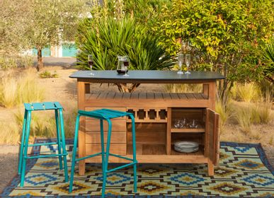 Lawn tables - Navy bar table in solid teak and compact laminate top - EZEIS