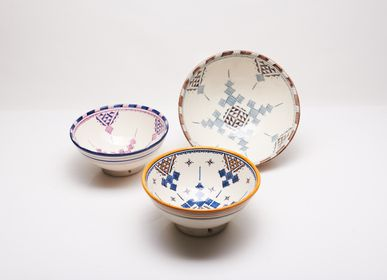 Platter and bowls - Ceramic handmade Salad Bowls - POTERIE SERGHINI