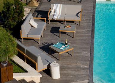 Fauteuils de jardin - Salon de jardin Kallysta / module d'angle réversible gauche / droite en teck massif, pieds aluminium et polyoléfine - EZEIS