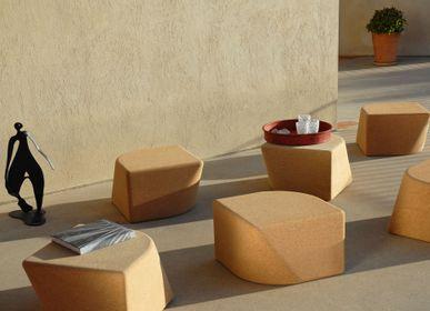 Tables de jardin - Tabouret et table d'appoint de jardin Monocorck modulaire en liège - EZEIS