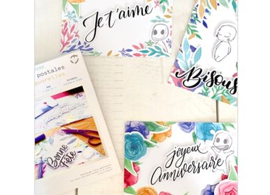 Card shop - Creative kit - Postcards - Watercolours - FRENCH KITS