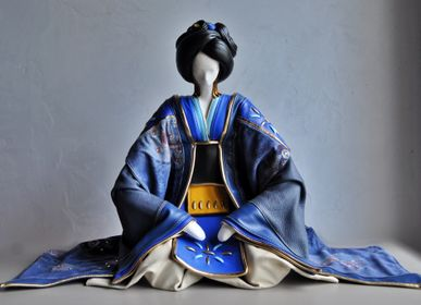 Sculptures, statuettes and miniatures - Blue Geisha Leather Sculpture - ANNIE DELEMARLE