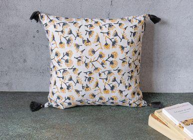Cushions - FLEURS DU LAC Blockprint Linen Cover 40 x 40 cm - CONSTELLE HOME