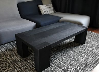 Coffee tables - SOLID OAK COFFEE TABLE WITH BURNT WOOD FINISH — SHOU-SUGI-BAN - OUVRAGE  - BOIS BRULE