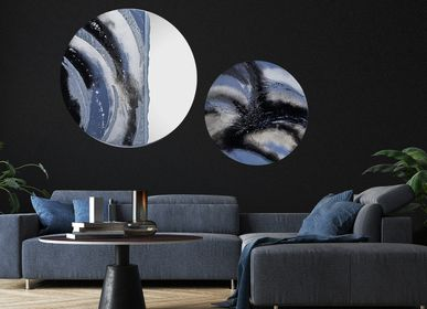 Mirrors - Moon Shadow art mirror with glass frame - BARANSKA DESIGN