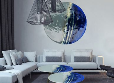Paintings - Big Blue art glass painting - BARANSKA DESIGN