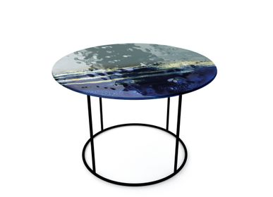Objets design - Grandes tables basses en verre bleu - BARANSKA DESIGN