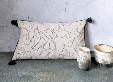 Fabric cushions - SQUISSE - Cushion cover cotton screen printing hand 50 x 30 cm - CONSTELLE HOME